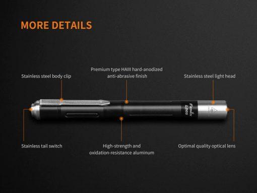 Fenix LD05 V2.0 EDC LED Flashlight with UV Lighting - 100 Lumens Infographic 13