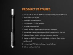 Fenix LD05 V2.0 EDC LED Flashlight with UV Lighting - 100 Lumens Infographic 16