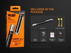 Fenix LD05 V2.0 EDC LED Flashlight with UV Lighting - 100 Lumens Infographic 1