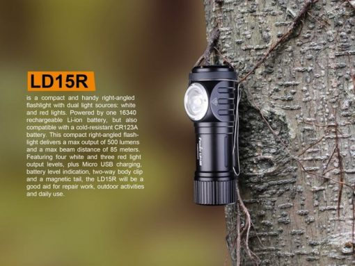 Fenix LD15R USB Rechargeable Right Angle Flashlight - 500 Lumens Infographic 2