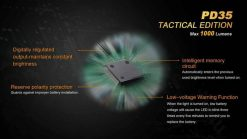 Fenix PD35 V2.0 Digital Camo Edition Tactical Flashlight - 1000 Lumens Infographic 14