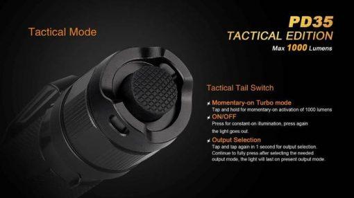 Fenix PD35 V2.0 Digital Camo Edition Tactical Flashlight - 1000 Lumens Infographic 9