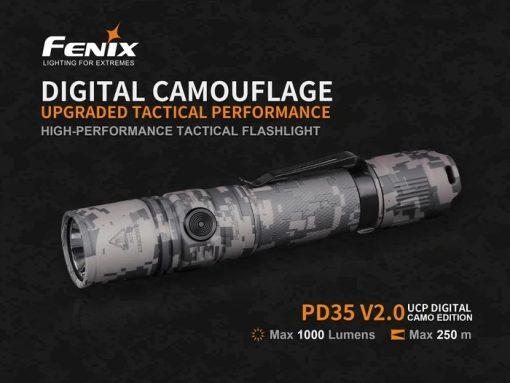 Fenix PD35 V2.0 Digital Camo Edition Tactical Flashlight - 1000 Lumens Infographic 1