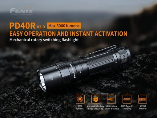 Fenix PD40R V2.0 Flashlight - 3000 Lumens Infographic 1