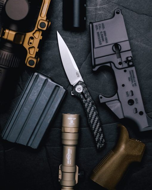 Zero Tolerance 0707 20CV Blade Carbon Fiber/Titanium Handle Front Side Open With Background 1