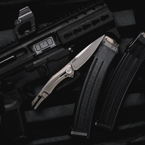 Zero Tolerance 0707 20CV Blade Carbon Fiber/Titanium Handle Back Side Open With Background