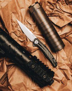 Zero Tolerance 0707 20CV Blade Carbon Fiber/Titanium Handle Front Side Open With Background 2