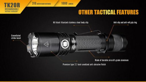 Fenix TK20R Rechargeable LED Tactical Flashlight - 1000 Lumens Infographic 12