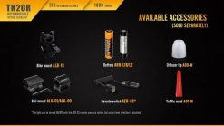 Fenix TK20R Rechargeable LED Tactical Flashlight - 1000 Lumens Infographic 15