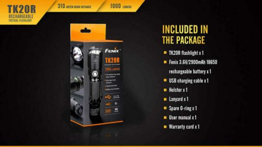 Fenix TK20R Rechargeable LED Tactical Flashlight - 1000 Lumens Infographic 18