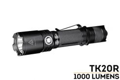 Fenix TK20R Rechargeable LED Tactical Flashlight - 1000 Lumens Front Side Angled With Title