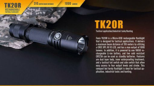 Fenix TK20R Rechargeable LED Tactical Flashlight - 1000 Lumens Infographic 3