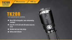 Fenix TK20R Rechargeable LED Tactical Flashlight - 1000 Lumens Infographic 4