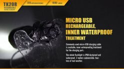 Fenix TK20R Rechargeable LED Tactical Flashlight - 1000 Lumens Infographic 5