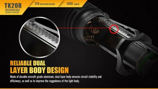 Fenix TK20R Rechargeable LED Tactical Flashlight - 1000 Lumens Infographic 8