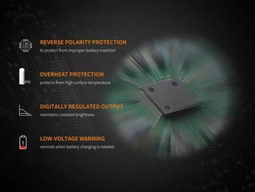 Fenix UC30 LED Rechargeable Flashlight - 1000 Lumens Infographic 2