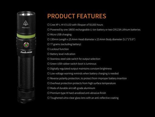Fenix UC30 LED Rechargeable Flashlight - 1000 Lumens Infographic 4