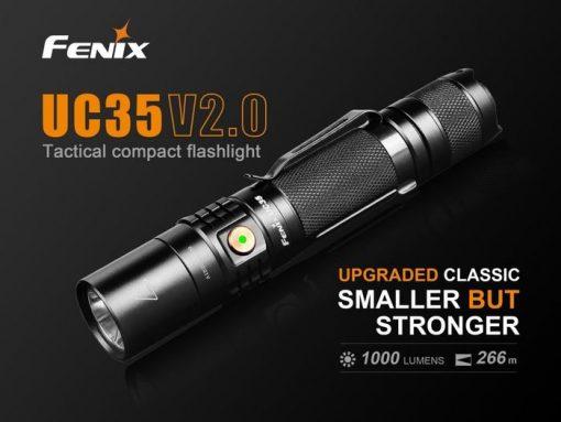 Fenix UC35 V2.0 LED Rechargeable Flashlight - 1000 Lumens Infographic 1