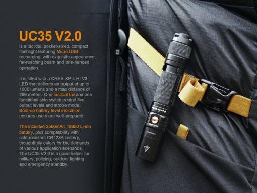 Fenix UC35 V2.0 LED Rechargeable Flashlight - 1000 Lumens Infographic 2