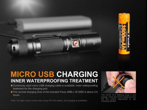 Fenix UC35 V2.0 LED Rechargeable Flashlight - 1000 Lumens Infographic 6