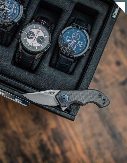 Zero Tolerance 0022 20CV Blade Titanium/Carbon Fiber Handle Front Side Open With Background 1