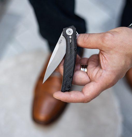Zero Tolerance 0707 20CV Blade Carbon Fiber/Titanium Handle Front Side Open With Hand 2