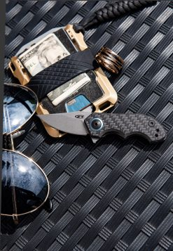 Zero Tolerance 0022 20CV Blade Titanium/Carbon Fiber Handle Front Side Open With Background 2