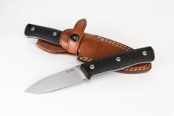 Lionsteel B35 Sleipner Steel Blade Black G10 Handle In and out of sheath