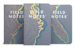 Field Notes Coastal: East - Reticle Grid Paper Memo Book 3 Pack (48 Pages) Front Side Center Separate