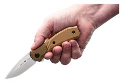 Buck Knives Paradigm Auto Assist S35VN Drop Point Blade - Brown G-10 Handle Front Side Open With Hand