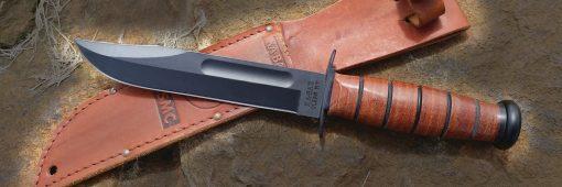 Ka-Bar USMC Fighting Knife 1095 Blade Brown Leather Handle Front Side Horizontal With Sheath OUtside