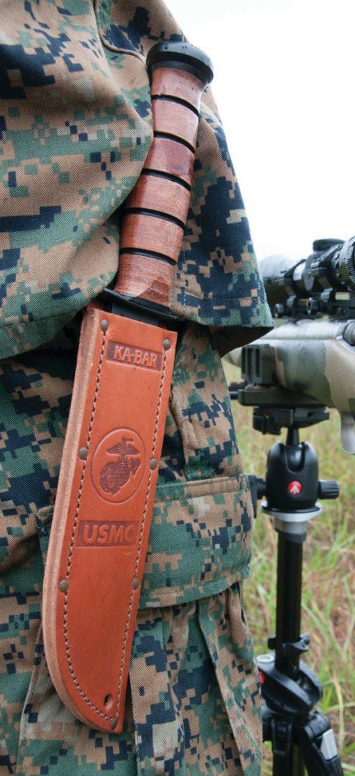 Ka-Bar USMC Fighting Knife 1095 Blade Brown Leather Handle IN Sheath on Person