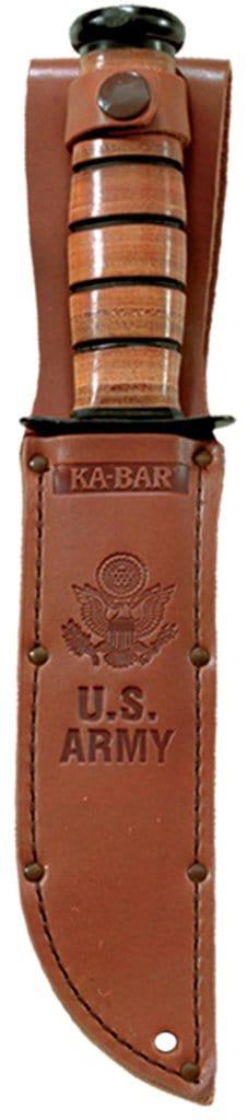 Ka-Bar U.S. Army Fighting Knife 1095 Combo Blade Brown Leather Handle In Sheath