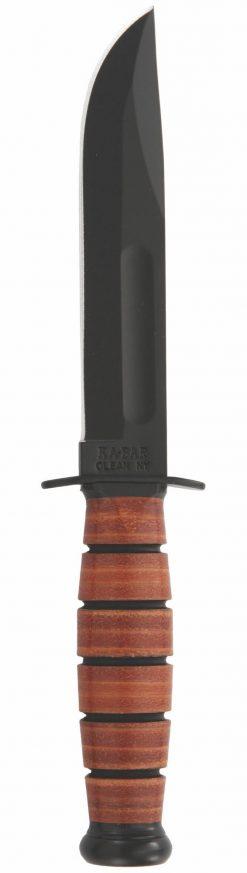 Ka-Bar Short Fighting Knife 1095 Blade Brown Leather Handle Front Side
