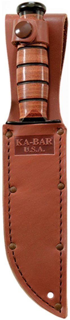Ka-Bar Short Fighting Knife 1095 Blade Brown Leather Handle In Sheath