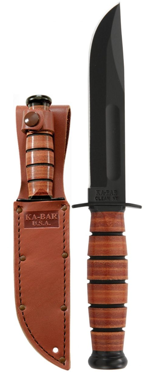 Ka-Bar Short Fighting Knife 1095 Blade Brown Leather Handle Front Side With Sheath