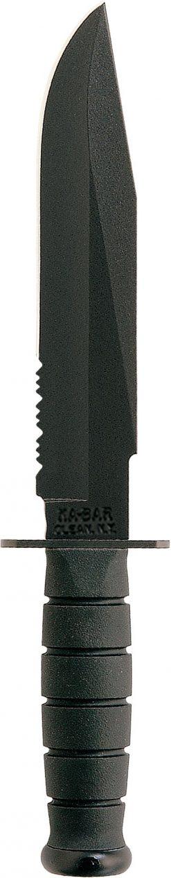 Ka-Bar Fighter Knife 1095 Combo Blade Black Kraton G Handle Front Side