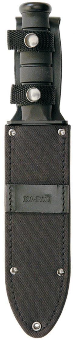 Ka-Bar Fighter Knife 1095 Combo Blade Black Kraton G Handle In Sheath