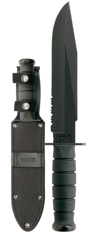 Ka-Bar Fighter Knife 1095 Combo Blade Black Kraton G Handle Front Side With Sheath