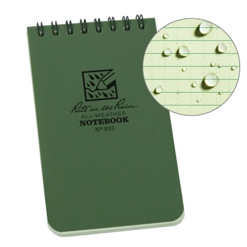 Rite in the Rain Top Spiral Notebook 3x5 - OD Green Front Side Closed
