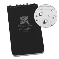 Rite in the Rain Top Spiral Notebook 3x5 - Black Front Side Closed