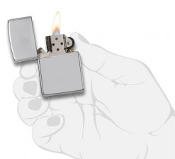 Zippo - Armor High Polish Chrome Lighter Front Side Open With Hand Graphic