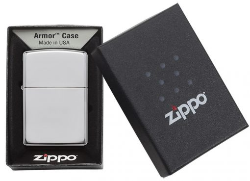 Zippo - Armor High Polish Chrome Lighter Front Side Closed in Box