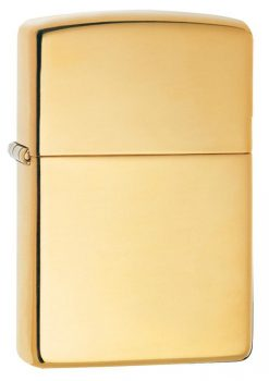 Zippo - Armor High Polish Brass Lighter Front Side Closed Angled