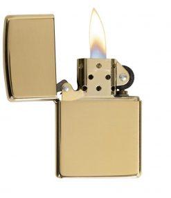 Zippo - Armor High Polish Brass Lighter Front Side Open
