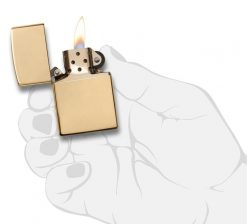 Zippo - Armor High Polish Brass Lighter Front Side Open With Hand Graphic