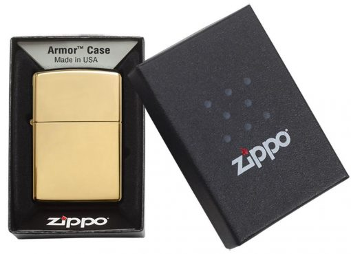 Zippo - Armor High Polish Brass Lighter Front Side Closed In Box