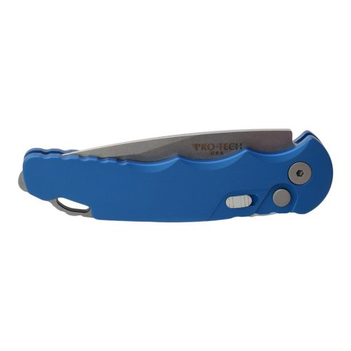 Pro-Tech Tactical Response 5 S35VN Drop Point Blade Blue Aluminum Handle Front Side Closed
