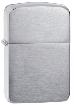 Zippo - Brushed Chrome 1941 Replica Lighter Front Side Closed Angled
