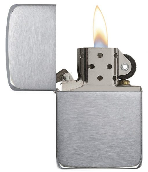 Zippo - Brushed Chrome 1941 Replica Lighter Front Side Open